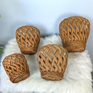 Vintage Wicker Nesting Basket Set of 4